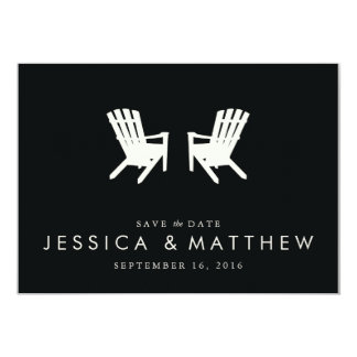 Muskoka Chairs Save the Date // Black 13 Cm X 18 Cm Invitation Card