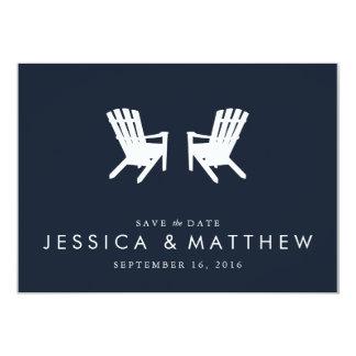 Muskoka Chairs Save the Date // Navy 13 Cm X 18 Cm Invitation Card