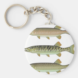 Musky Tiger musky and Northern Pike vector Basic Round Button Key Ring