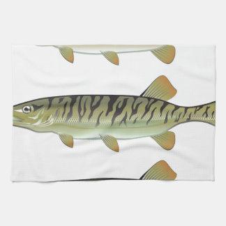 Musky Tiger musky and Northern Pike vector Tea Towel