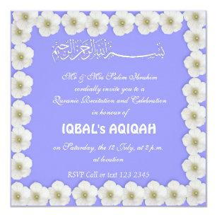 Muslim Baby Boy Blue Aqiqah Invitation