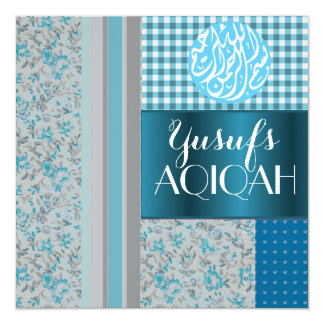 Muslim baby boy blue aqiqah Islamic 13 Cm X 13 Cm Square Invitation Card