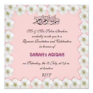 Muslim Baby Girl Aqiqah Invitation