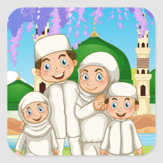 Muslim family standing in the park square sticker