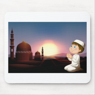Muslim man praying at the mosque mouse pad