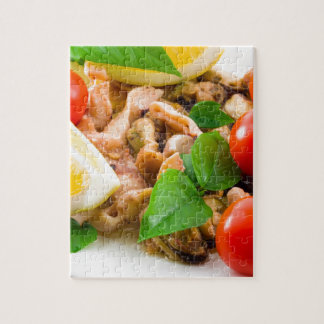 Mussels, squid and octopus, decorated with greens, jigsaw puzzle