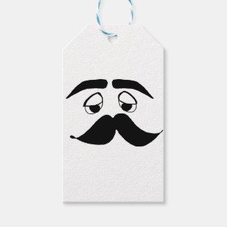mustach face cartoon gift tags