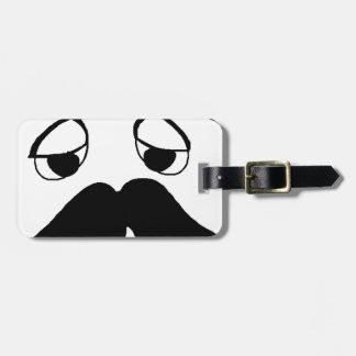 mustach face cartoon luggage tag