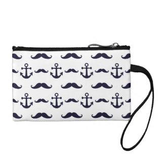 Mustache and anchor coin purse