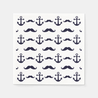 Mustache and anchor disposable napkin
