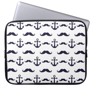 Mustache and anchor laptop sleeve