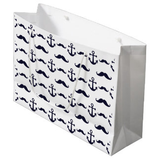 Mustache and anchor large gift bag