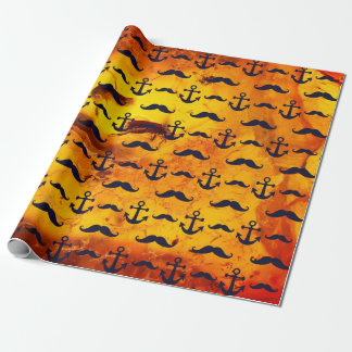 Mustache and anchor on amber background wrapping paper