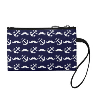 Mustache and anchor pattern coin purse