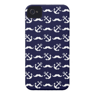 Mustache and anchor pattern iPhone 4 Case-Mate case
