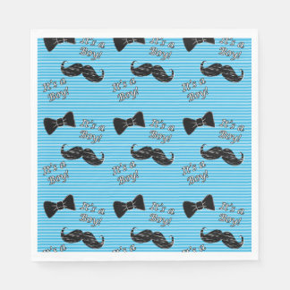 Mustache and Bowtie Blue Party Luncheon Napkins Disposable Napkin