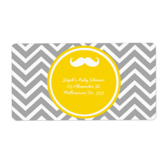 Mustache and chevron baby boy shower shipping label