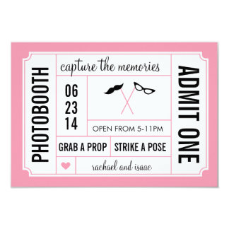 Mustache and Glasses Props Photobooth Ticket 9 Cm X 13 Cm Invitation Card