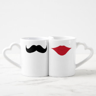 Mustache and lips couples mugs