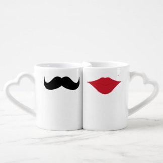 Mustache and lips couples mugs lovers mug sets