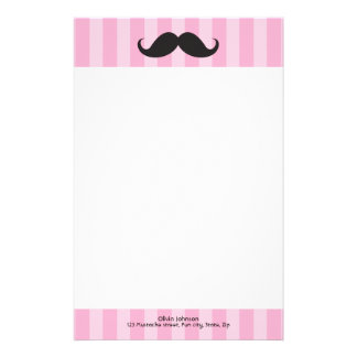 Mustache and pink stripes personalized stationery