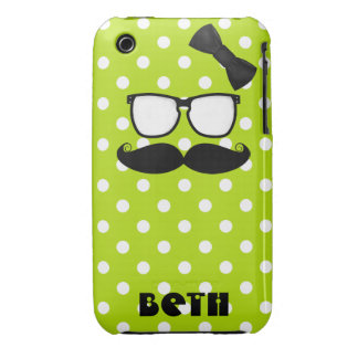 Mustache and Polka Dots iPhone 3 Case