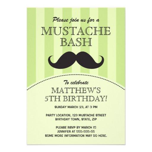 Mustache bash birthday party invitation, green