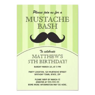 Mustache bash birthday party invitation, green 13 cm x 18 cm invitation card