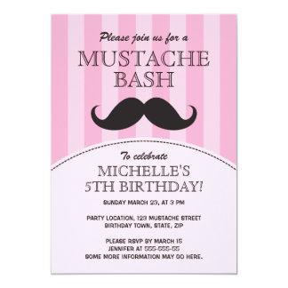 Mustache bash birthday party invitation, pink 13 cm x 18 cm invitation card