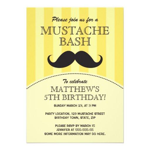 Mustache bash birthday party invitation, yellow