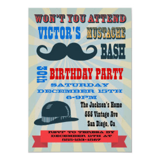 Mustache Birthday Party Invitations