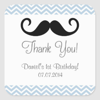 Mustache Birthday Thank You Stickers