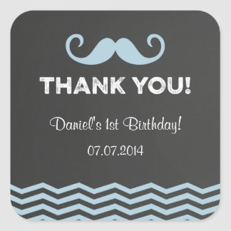 Mustache Birthday Thank You Stickers Chalkboard