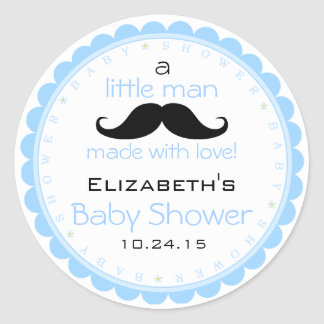 Mustache Blue Baby Shower Classic Round Sticker