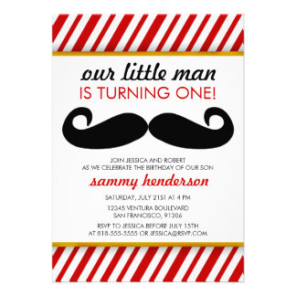 Mustache Boy Birthday Invitation