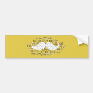 Mustache Bumper Sticker Typography Art Yellow