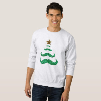 mustache christmas tree mens sweatshirt