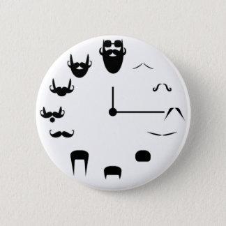 Mustache Clockface 6 Cm Round Badge