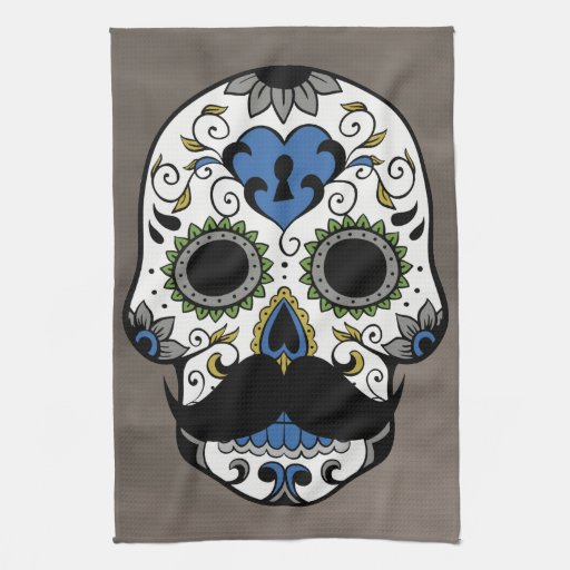 Mustache Day of the Dead Sugar Skull Towel