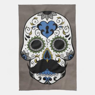 Mustache Day of the Dead Sugar Skull Tea Towels