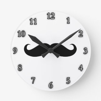 Mustache Disguise Funny Round Clock