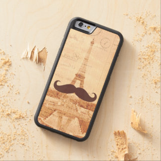 Mustache Eiffel Tower Carved® Maple iPhone 6 Bumper