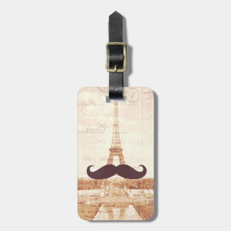 Mustache Eiffel Tower Luggage Tag