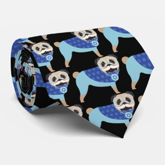 Mustache Hanukkah Pug Tie