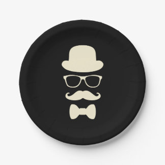 Mustache Hat and Glasses Disguise Paper Plates