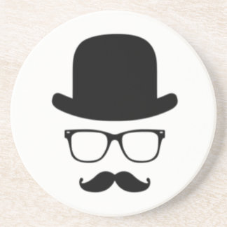 MUSTACHE HAT AND GLASSES HIPSTER COASTER