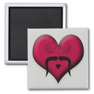 Mustache Heart - Very Retro! Refrigerator Magnet