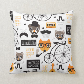 Mustache hipster fox cat and bear illustration cushion