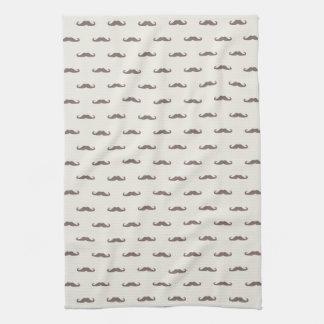 Mustache hipster pattern 3 tea towel