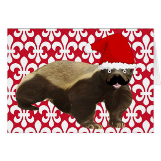 Mustache Honey Badger Santa Greeting Card